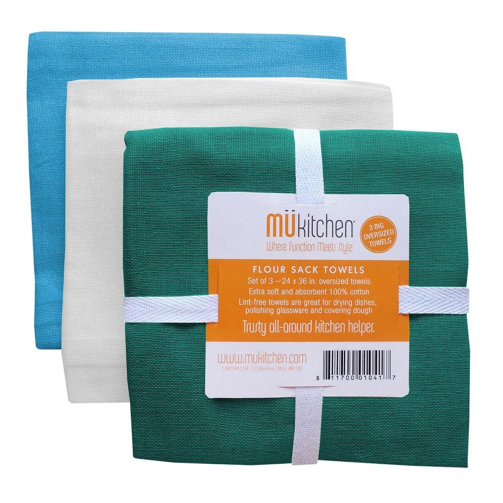 "Image of ""24""""x36"""" 3pk Kitchen Towel Green/White/Blue - MUkitchen"""