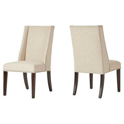 Set of 2 Harlow Wingback Dining Chair with Nailheads Oatmeal - Inspire Q