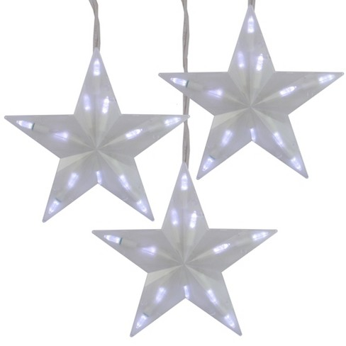 Northlight Set of 3 Pure White Frosted LED 3-D Star Icicle Christmas Lights - White Wire - image 1 of 2