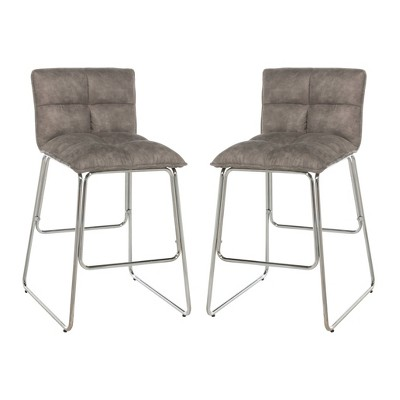 Set of 2 Cross Stitch Upholstered Metal Counter Height Barstool Light Gray - Hillsdale Furniture