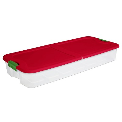 Sterilite 74qt Ultra Clear Underbed Box Red Lid and Green Latch