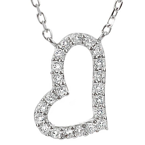 1/5 CT. T.W. Round-cut CZ Heart Pave Set Necklace in Sterling Silver - Silver - image 1 of 1