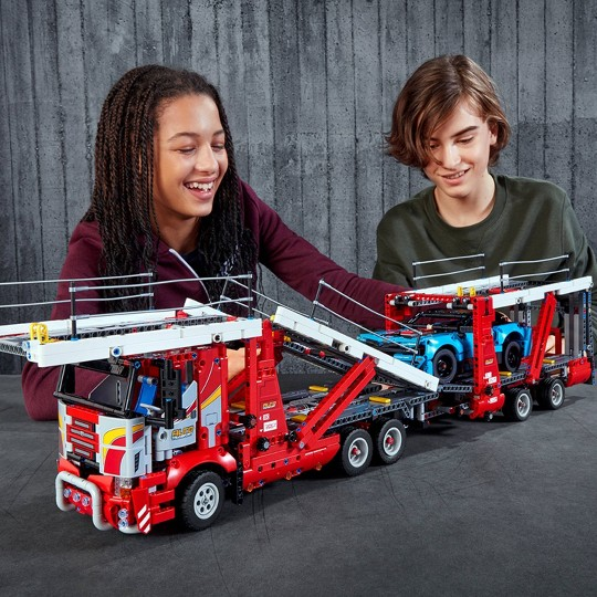 LEGO Technic Car Transporter 42098 Toy Truck and Trailer Building Set with Blue Car image number null