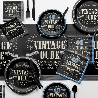 Vintage Dude 40th Birthday Party Supplies Kit