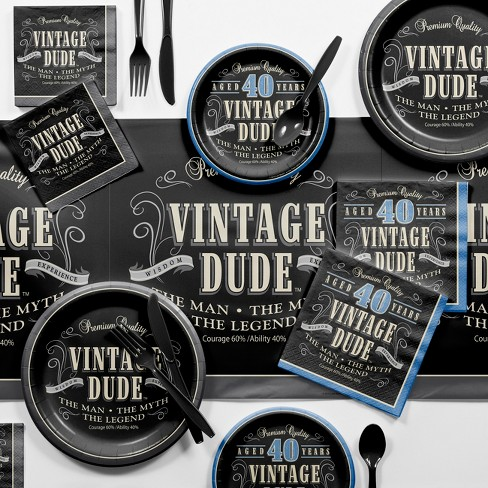 Vintage Dude 40th Birthday Party Supplies Kit Target