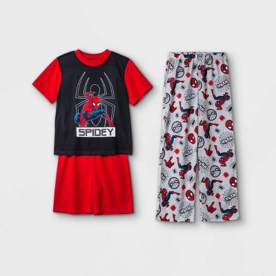 Boys' Marvel Spider-Man 3pc Pajama Set - Red/Gray