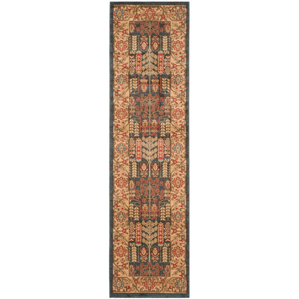 2'2X18' Loomed Floral Runner Rug Navy - Safavieh, Blue/Natural