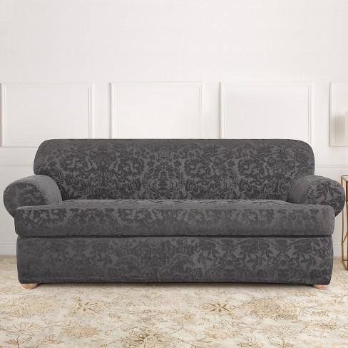 Stretch Jacquard Damask T Sofa Slipcover Gray Sure Fit Target
