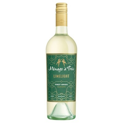 Ménage  Trois Limelight Pinot Grigio White Wine - 750ml Bottle