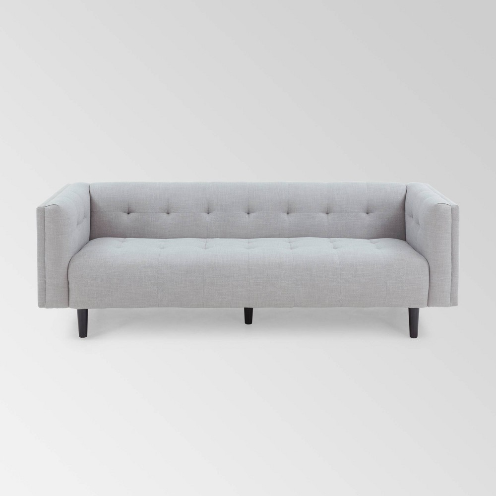 Image of Ludwig Mid Century Modern Upholstered Tufted Sofa Light Gray - Christopher Knight Home