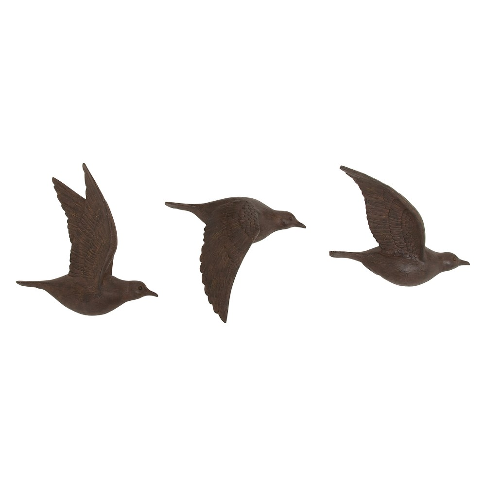Resin Bird Decorative Wall Art 11 X 10 Set of 3 - Olivia & May, Bronze