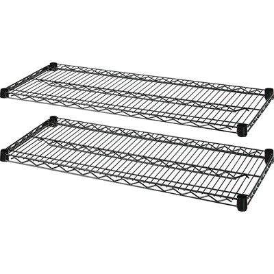 "Lorell Extra Shelves f/Wire Shelving 48""x24"" 2/CT Black 69136"