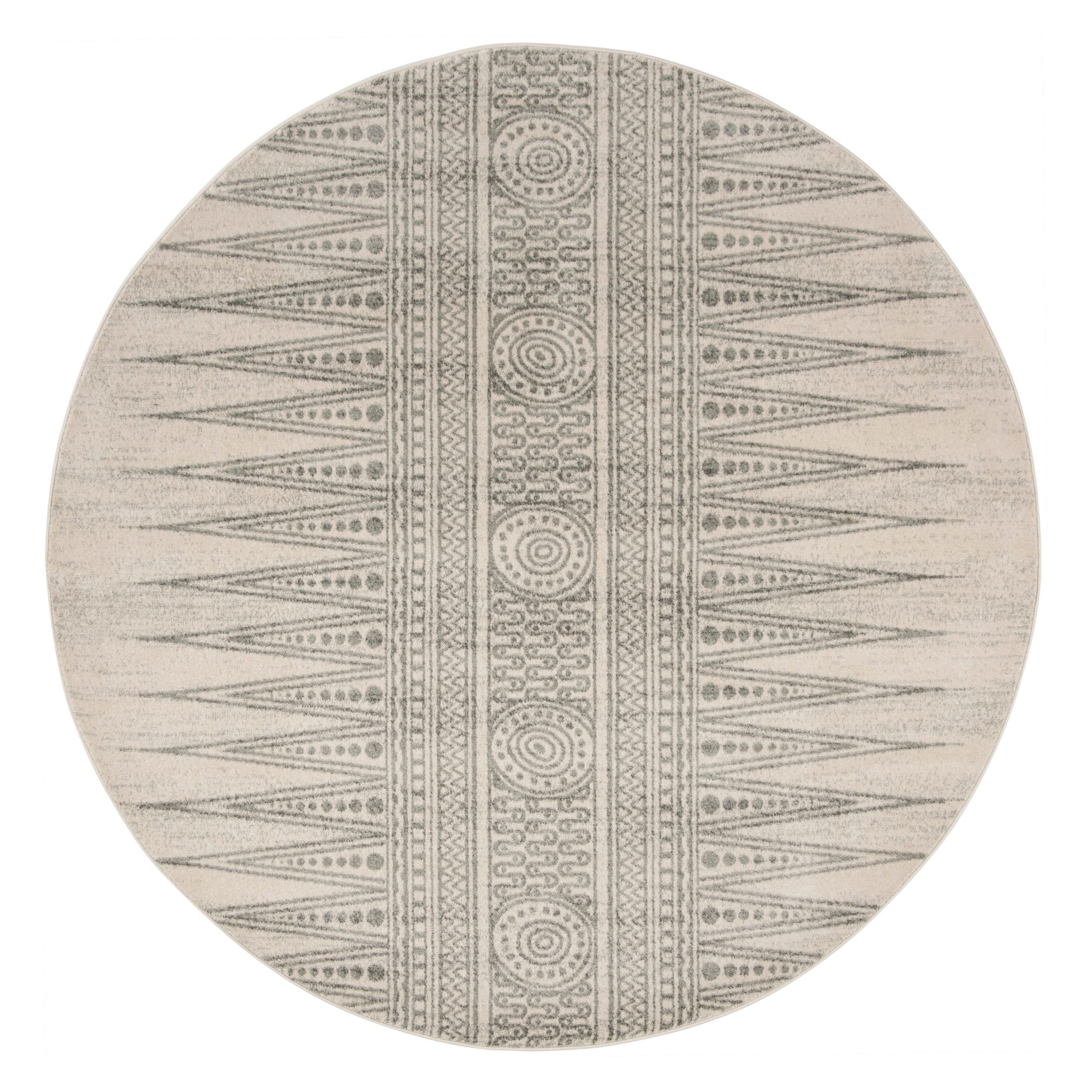 6'7 Tribal Design Loomed Round Area Rug Ivory/Silver - Safavieh