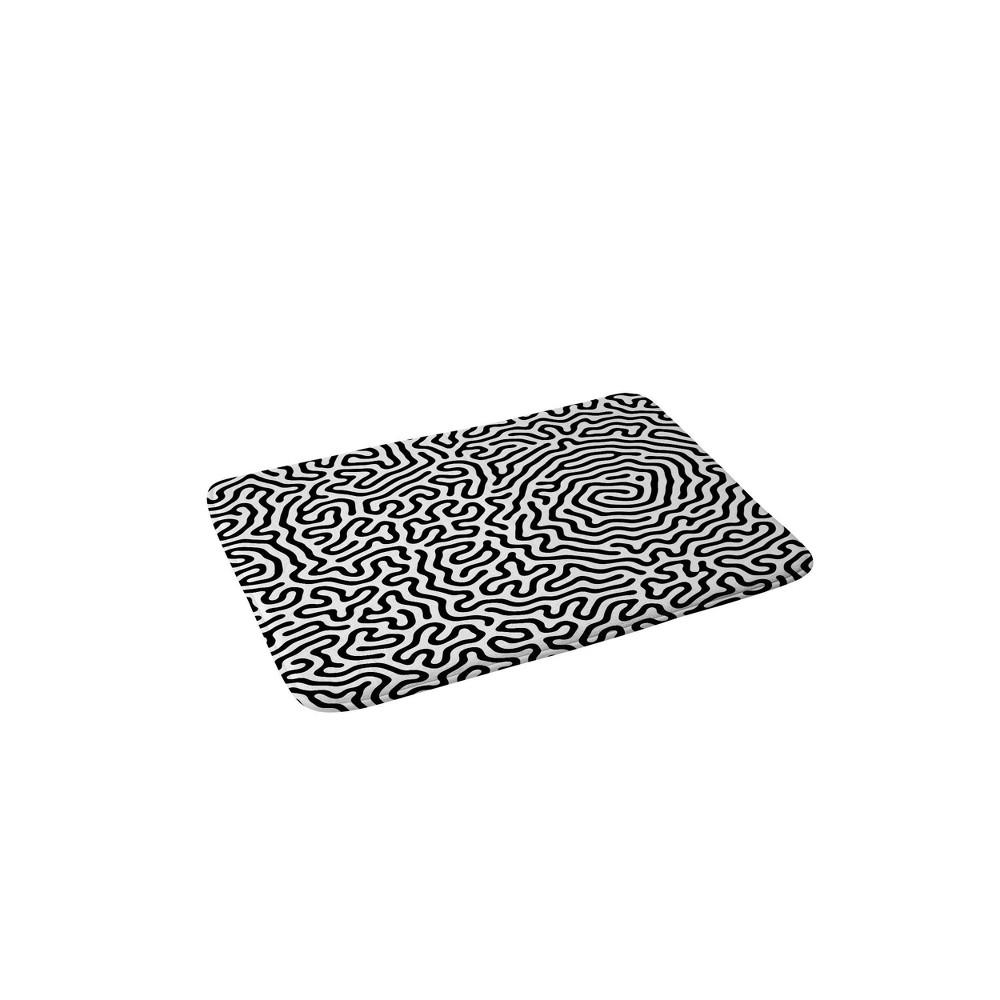 Adam Priester Pattern Memory Foam Bath Mat Black White Deny Designs