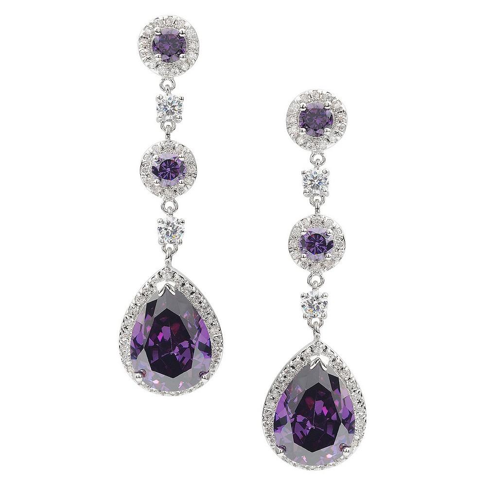 10 7/8 CT. T.W. Journee Collection Pear Cut CZ Basket Set Drop Earrings in Brass - Purple