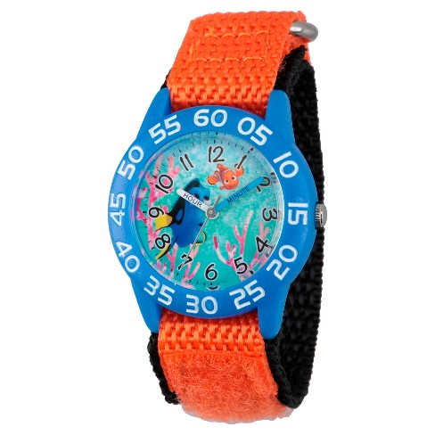 Boys' Disney Finding Dory Blue Plastic Time Teacher Watch - Orange - image 1 of 2