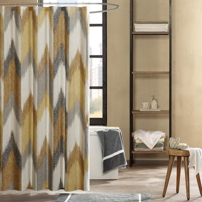 72 x72  Alpine Cotton Printed Shower Curtain Yellow
