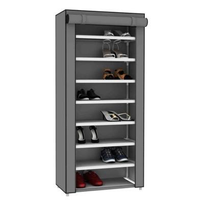 Home Basics 8 Tier Portable Polyester Shoe Closet, Grey