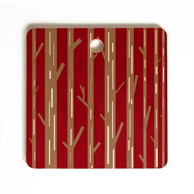 Lisa Argyropoulos Modern Trees Red Cutting Board Square - Deny Designs