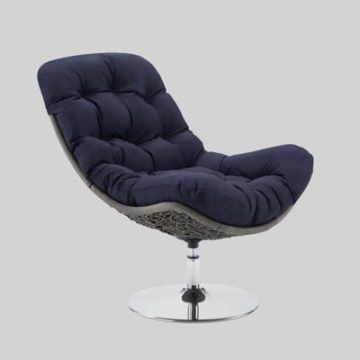 Brighton Wicker Rattan Outdoor Patio Swivel Lounge Chair Light Gray - Modway