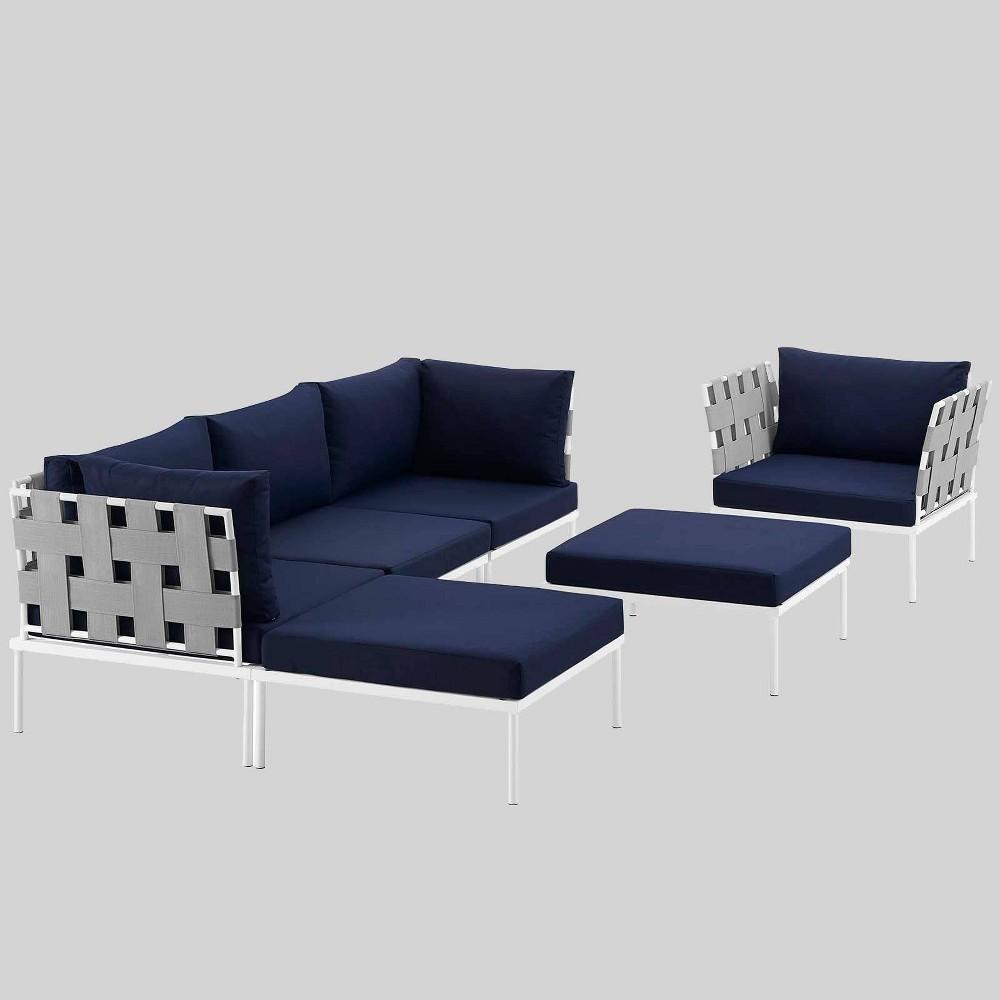 Harmony 6pc Aluminum Outdoor Patio Sectional Sofa Set - Navy (Blue) - Modway