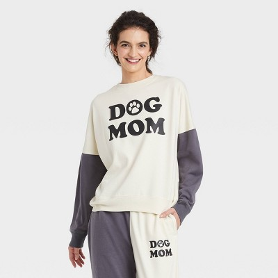 Women's Dog Mom Colorblock Graphic Sweatshirt - Off-White/Gray