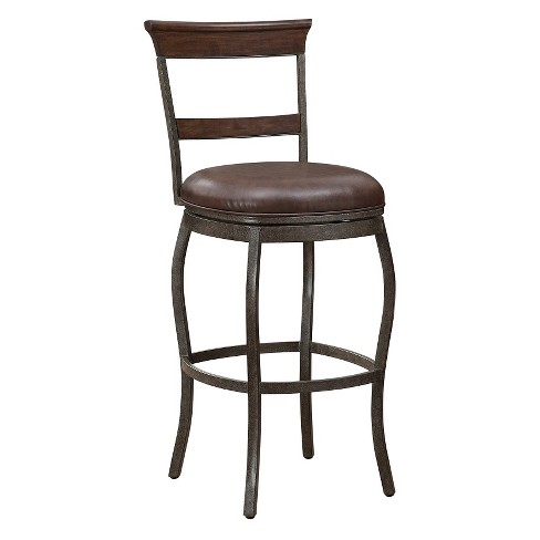 "Riverton Bonded leather Counter Stool - 26""- Gray with Brown - American Heritage Billiards - image 1 of 4"