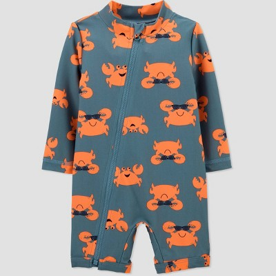Baby Boys' Crab Print One Piece Rash Guard - Just One You® made by carter's Gray 9M