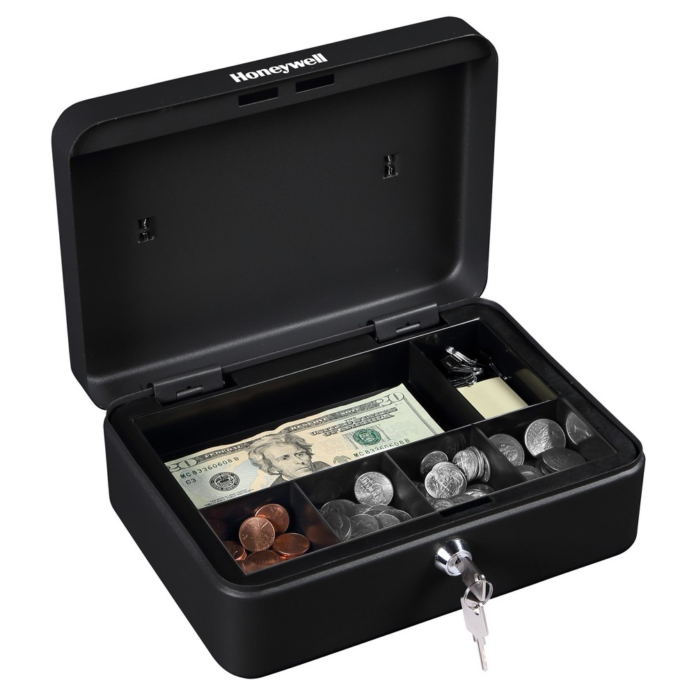 Image of Honeywell Standard Steel Cash Box, Black