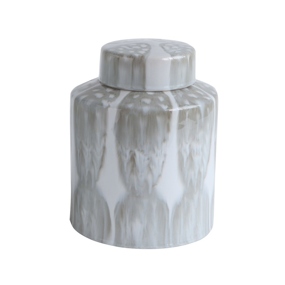 "Image of 10.2"" x 8"" Decorative Stoneware Ginger Jar with Lid Gray/White - 3R Studios"