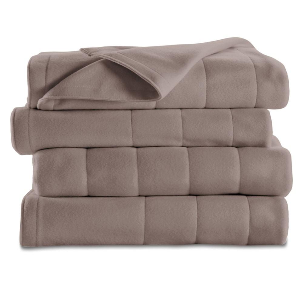 Image of Quilted Fleece Electric Blanket (Full) Mushroom - Sunbeam