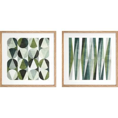 Mod Patterns 2pc Under Plexi Single Mat Framed Wall Canvas 14 X 17 X 8 - Project 62™