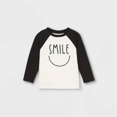Toddler Boys' Smile Raglan Long Sleeve T-Shirt - Cat & Jack™ Cream