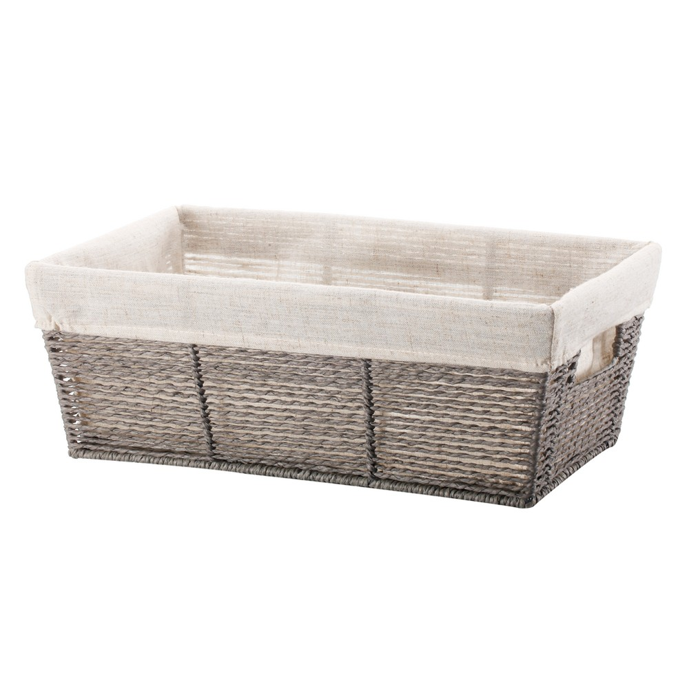Twisted Paper Rope Media Basket Gray 6