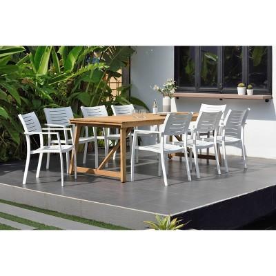 Valencia 9pc Reclaimed Teak & Aluminum Rectangular Patio Dining Set - White - Amazonia