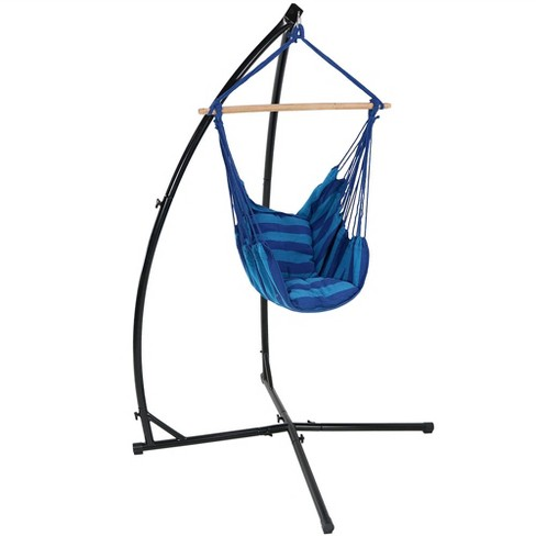 Oasis Hammock Chair Swing and X-Stand - Blue Stripe - Sunnydaze Decor - image 1 of 6