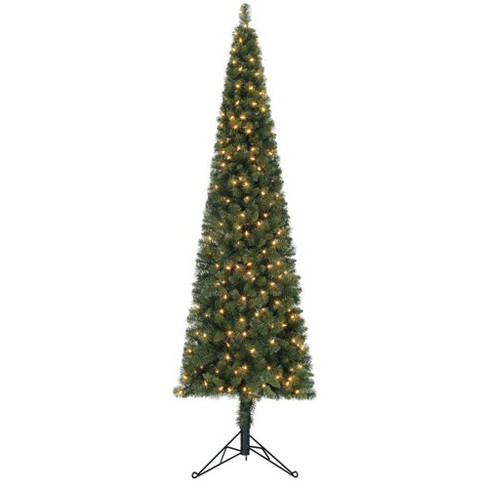 Home Heritage 7 Foot Pre-Lit Slim Indoor Artificial Corner Christmas Holiday Tree with White LED Lights, Folding Metal Stand, and Easy Assembly - image 1 of 4