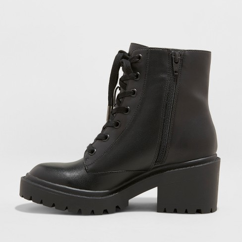 0111381261a8 Women s Lupe Faux Leather Wide Width Combat Boots - Universal Thread™ Black