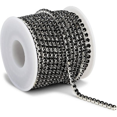 Bright Creations Black Mesh Ribbon Chains for Wreaths, 4 mm Rhinestone Wraps, Arts and Crafts (10 Yards)