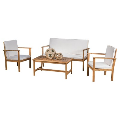 Luciano 4pc Acacia Chat Set   Christopher Knight Home