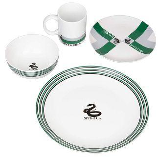 Seven20 Harry Potter 16 Piece Porcelain Dinnerware Set | Plates, Bowls Mugs | House Slytherin