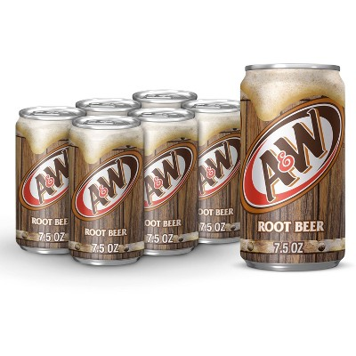 A&W Root Beer Soda - 6pk/7.5 fl oz Cans