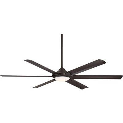 "70"" Casa Vieja Industrial Outdoor Ceiling Fan with Light LED Dimmable Remote Oil Rubbed Bronze Damp Rated for Patio Porch"