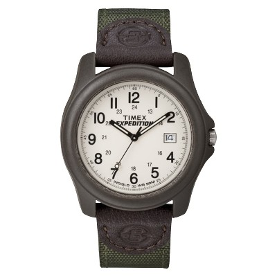 Men's Timex Expedition Camper Watch with Nylon/Leather Strap and Resin Case - Green T49101JT