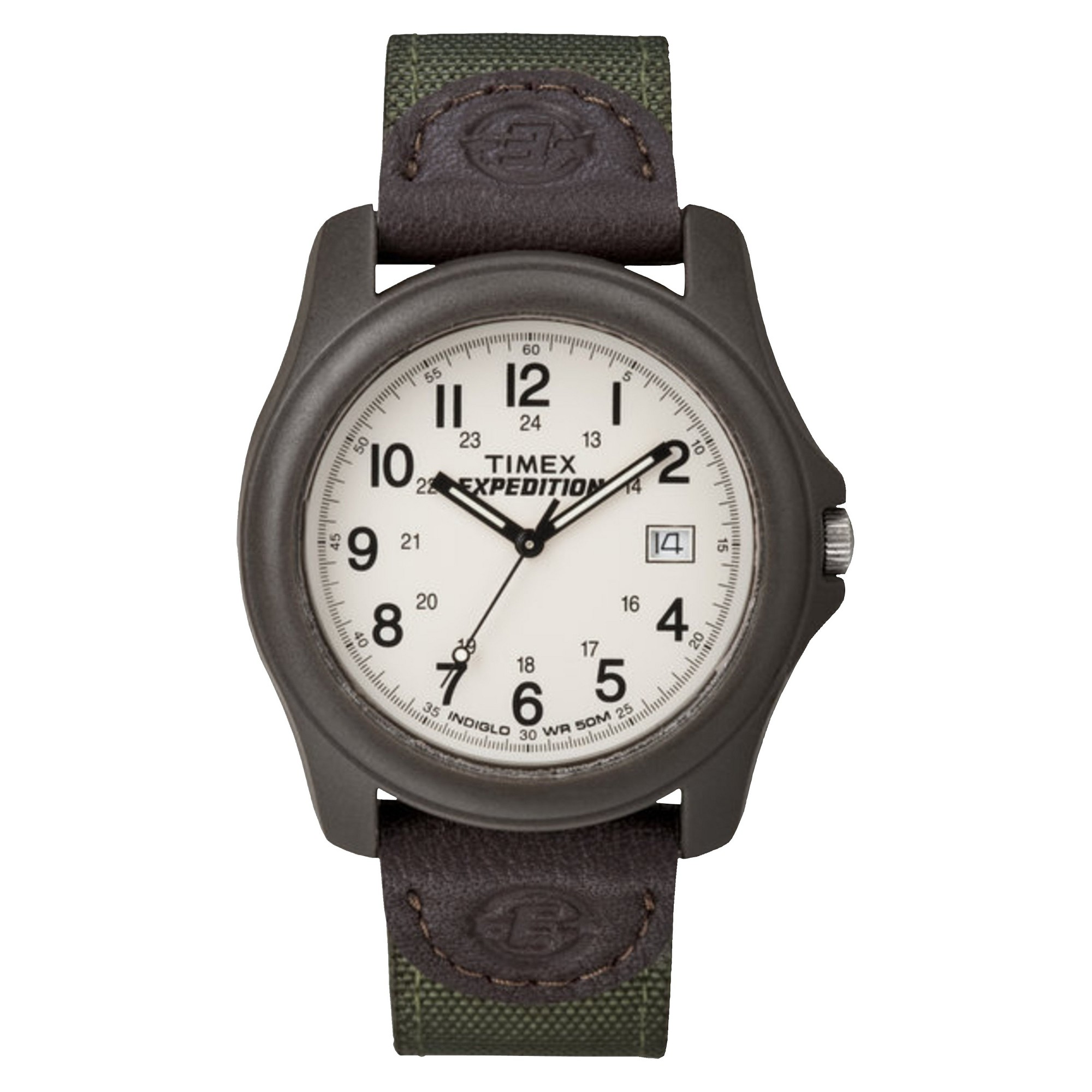 Men's Timex Expedition Camper Watch with Nylon/Leather Strap and Resin Case - Green T49101JT, Size: Small