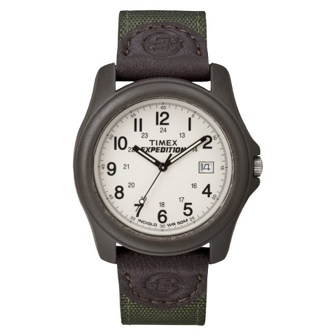 Men's Timex Expedition Camper Watch with Nylon/Leather Strap and Resin Case - Green T49101JT - image 1 of 3