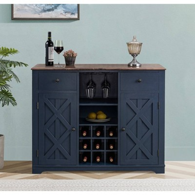 """47"""" Wood Bar Cabinet with Brushed Nickel Knobs Navy - Home Essentials"""