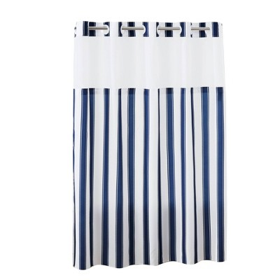 Striped Shower Curtain with Liner Navy - Hookless