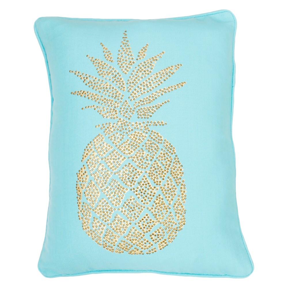 Foil Print Pineapple Lumbar Throw Pillow Aqua (Blue) - Decor Therapy