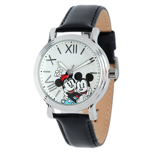 Women's Disney® Mickey and Minnie Shinny Vintage Articulating Watch with Alloy Case - Black - image 1 of 2